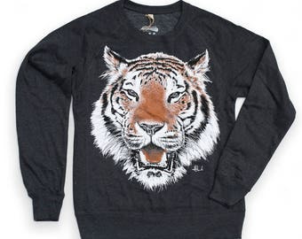 SALE TIGER sweatshirt graphic sweatshirt organic jumper men's jumper unisex jumper tiger illustration  urban apparel streetwear illustrated