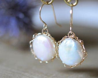Freshwater Pearl with 14k Gold Filled Wire Crochet Earrings