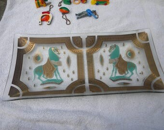 nice shape vintage glass FRED PRESS HORSE serving tray