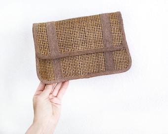 Vintage wicker clutch woven wicker retro accessories wicker bag handbag