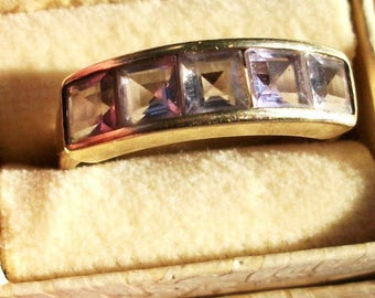 Vintage Gold 10kp Channel Set Princess Cut Amethyst Ring 5 Stone