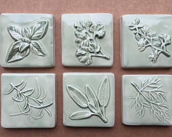 Ceramic Herb Accent Tiles -- Set of Six 2x2 Herb tiles in Green Tea, Kitchen Accent, Basil, Thyme, Parsley, Rosemary, Sage, Dill, IN STOCK