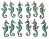 Brass Seahorse Stampings, 6 Pair, Sea Life Stampings, Seahorses, Fish, Aqua Copper Patina, 40mm, US Made, Nickel Free, Bsue, Item03495