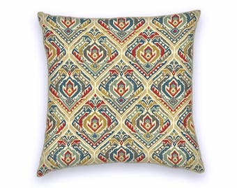 Blue Red Grey Taupe Ikat Cotton Pillow Cover, Decorative Throw Pillow Cover, 18x18 or 20x20 or 22x22 Accent Pillow Cover