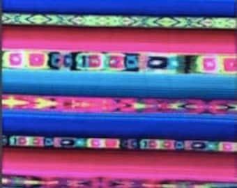 Swimsuit Fabric-Bright Rainbow Tribal Stripes (1 yard)