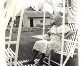 "Vintage Snapshot ""Crabby Neighbor Lady"" Sourpuss Old Lady Sitting In Wooden Swing Black & White Found Vernacular Photo"