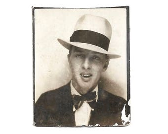 "Vintage Snapshot ""Little Tony"" Gangster Wannabe 1930's Teenage Boy Homburg Hat Bow Tie Photobooth Found Vernacular Photo"