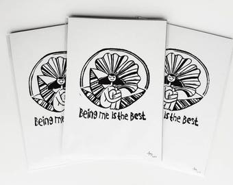 Being Me Is The Best illustration small body positive lino print