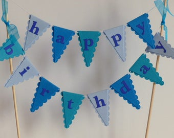 Happy Birthday Cake Bunting Topper - Turquoise, Blue
