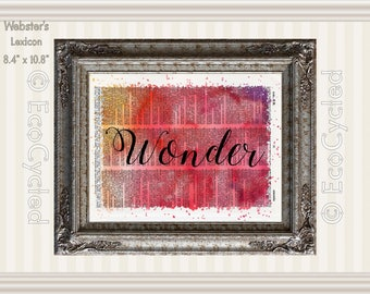 Wonder Inspirational Quote on Vintage Upcycled Dictionary Art Print Book Art Print Repurposed Recycled meditation gift
