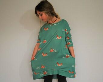 Girls fox dress green blue pocket smock organic cotton girl floppy foxy jumper slouchie dress casual foxes pockets lounge stretch knit