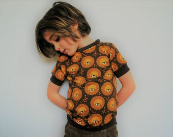 Kids t shirt retro brown lion top fitted vintage style yellow orange 1970 cotton animal print baby vest soft tee toddler kids babies t-shirt