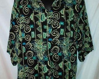 "BIG SUMMER SALE 70s Vintage Aloha Man-Whooo's Shirt-Hawaiian Tiki Tribal Mask Rayon-Hawaii Cruise Luau Resort Beach-Large-46"" Chest"