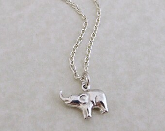 Elephant Necklace .. sterling silver, animal pendant, silver necklace
