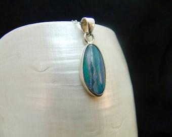 Stunning Australian Opal Sterling Silver Necklace Pendant