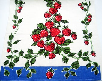 "Vintage Strawberry Kitchen Towel, Red Blue Green White, Tea Towel, Unused 30"" x 16"""