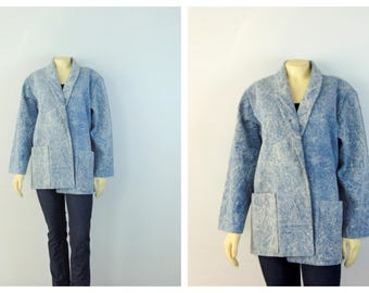 Vintage Blazer 80s Acid Wash Blue Jean Oversized Blazer   Light Blue Jean Jacket   Denim Blazer   1980s Oversized Blazer