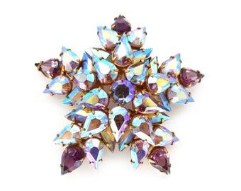 Vintage 1950s Aurora Borealis Purple Glass Star Brooch