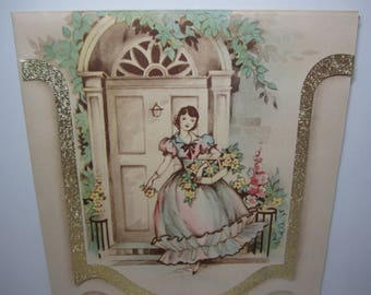Gorgeous unused 1930's die cut art deco birthday card pretty lady at front porch holds basket filled w/ flowers pretty pastel colored dress