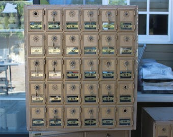vintage post office boxes, postal boxes,brass doors,mailboxes,vintage office,