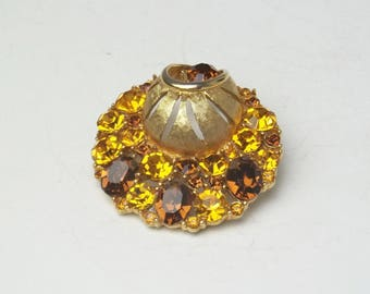 Topaz Golden Rhinestone Round Unique Vintage Brooch Unsigned Beauty Hollywood Glamour 1950's Costume Jewelry Pin Gift For Her Best Deal