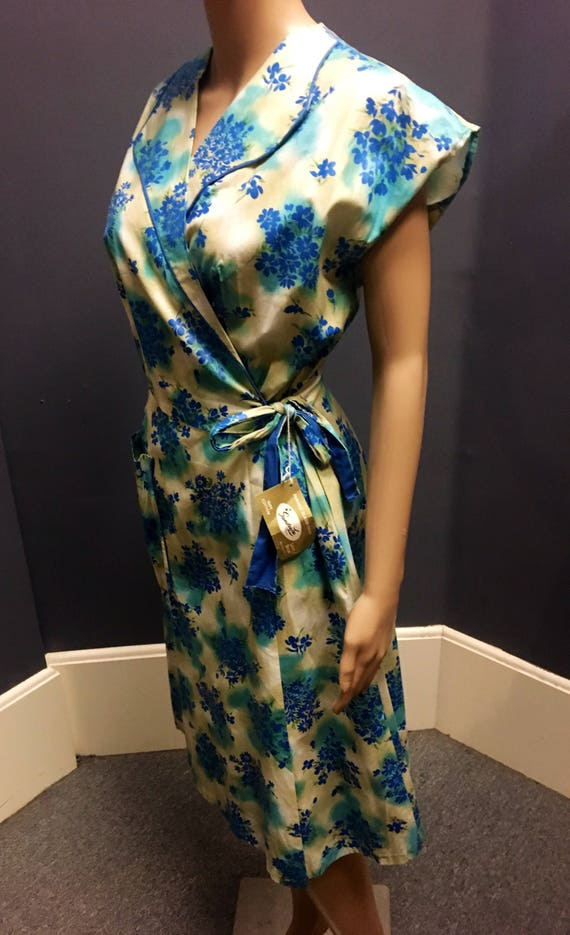 Vintage Deadstock 1950s Blue, Turquoise amd Beige Wrap Dress by Sandra Lee Size Large
