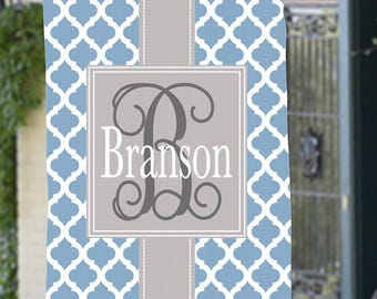 Personalized Monogram Garden or House Flag Family Name Custom Quatrefoil Lattice Design Any Color Gift