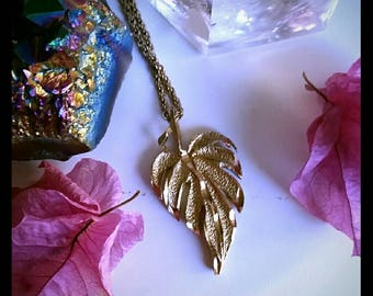 Vintage Gold leaf necklace