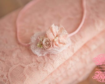 Romantic Blush Pink Stretch Lace Wrap Set w Newborn Lace BowHeadband on stretch elastic band 2 Item Set Cute forBabys 1st Photo Session