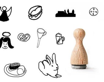 Nuremberg rubber stamp, Bavarian rubberstamps, ürnberg rubberstamps, Tourist rubber stamp, rabbit rubber stamp, Prezel and beer mug