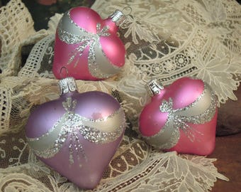 Three Vintage Heart Ornament / Pink Purple Heart Christmas Ornaments