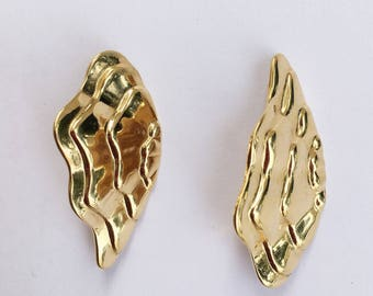 Gold Tone Wave Wing Pierced Earrings