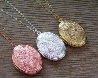 Rose Gold Filled Locket Necklace, Sterling Silver Locket Necklace, Floral Locket, Gold Filled Locket Necklace, Embossed Locket, Photo Locket