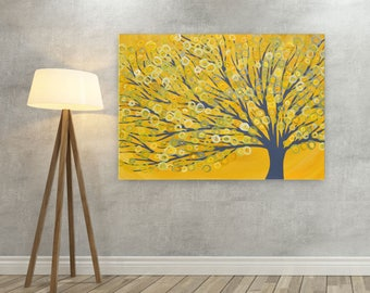 Yellow Canvas Picture - Yellow & Grey Tree Canvas Print - Yellow Abstract Tree Print on Canvas based on Original Painting by Louise Mead