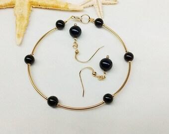 Black Onyx Bracelet Gold Onyx Bracelet and Earrings Black Onyx Earrings Jewelry Set Gold Jewelry Set 14k Gold Filled Bracelet BuyAny3+1 Free