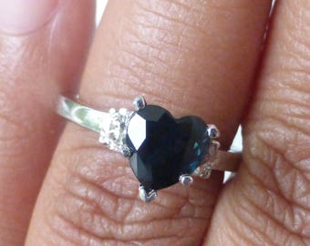 1950s Platinum Natural heart shaped Blue Sapphire and Diamond engagement ring Size 6