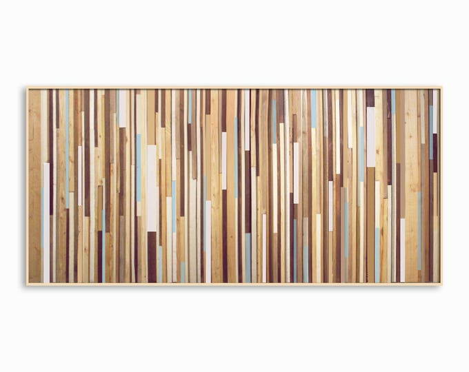 Blue Wash Modern Reclaimed Wood Wall Art - Modern Wood Art - in Browns, Tan, Cream, Light Blue, and Gray Stripes