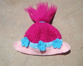 Princess Poppy Hat - Princess Poppy Beanie - Princess Poppy Hair - trolls hat - trolls beanie - trolls movie hat - halloween costume