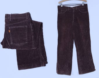 70s Orange Tag Uncut Corduroy Bootcut Tailored For Men Brown Mod Dress Pants 34 x 27