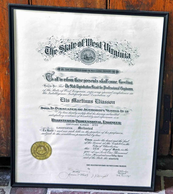 Vintage Original Document w/ Gold Seal 4 ELIS MARTINUS ELIASSON Charleston W V 1953 Registered Professional Engineer #2753 Class: Mechanical