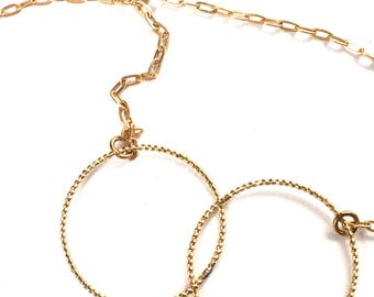 "Double Golden Rings- Double ""Circles""-Necklace-Lovely Gift"