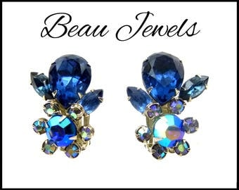 Beau Jewels Blue AB Rhinestone Earrings, Aurora Borealis, Royal Blue Rhinestone Earrings, Blue Earrings, Maid of Honor, Gift For Her