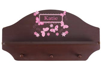 Personalized Espresso Wall Rack and Shelf with Pink Butterflies Design-shel-esp-300a