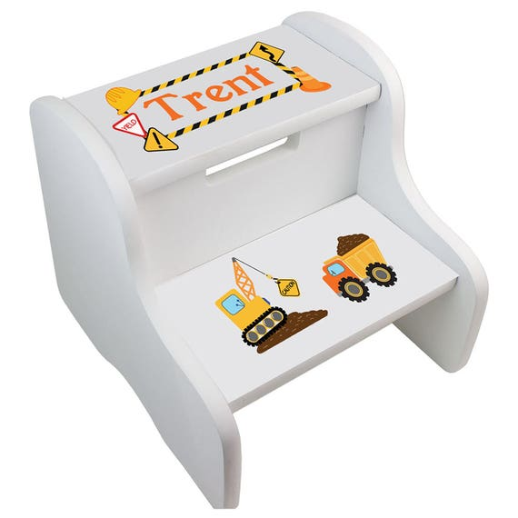 Construction Step Stool Boys Personalized Step Stools