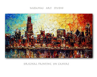 Oil Painting on canvas original Chicago Skyline heavy pallete knife texture art Signed by Paula Nizamas ready to hang