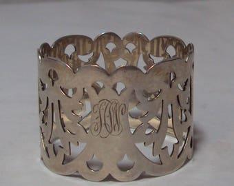 Antique A. Frankfield Sterling Silver Filigree Napkin Ring Monogrammed