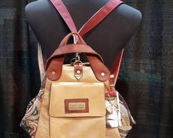 Convertible bag/ backpack/shoulder bag/real leather/beige