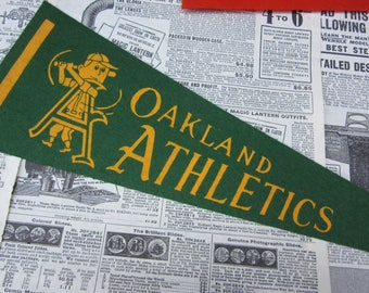 Rare Vintage Oakland A's Athletics Baseball Pennant 15 Inch Pennant Banner Flag 1960s Era Collectible Vintage Sports Room Decor Old Baseball