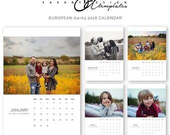 EUROPEAN 2018 Calendar, Photo Wall Calendar, A3, A4, Family, Photoshop Template, C150EURO, Instant Download