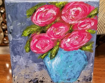 6 x 6 Abstract Roses in Vase